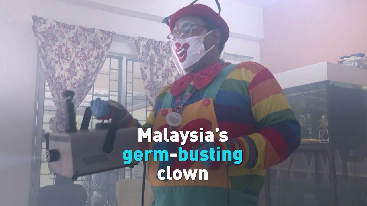 Malaysian clown becomes germ buster during pandemic