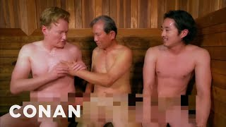 Steven Yeun & Conan Visit A Korean Spa  - CONAN on TBS
