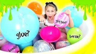 Slime Balloon Mystery Challenge! Making Giant Slime with Giant Balloons!