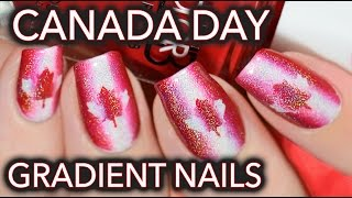 Canada day nail art - Red, white & holo!
