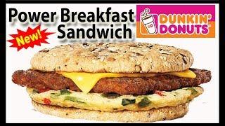 Dunkin' Donuts | Power Breakfast Sandwich | Taste Test & Review | JKMCraveTV