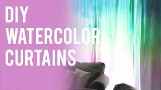DIY Watercolor Curtains - featuring ilovetocreate