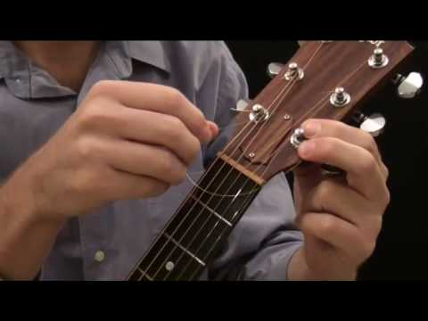 how to put new strings on an acoustic guitar steel string youtube. Black Bedroom Furniture Sets. Home Design Ideas