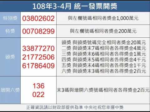 統一發票108年3-4月中獎獎號