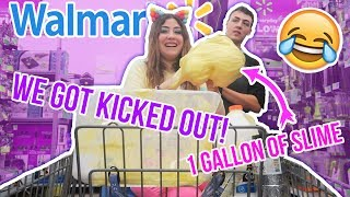 MAKING SLIME IN PUBLIC , WE GOT KICKED OUT OF WALMART! 1 GALLON OF SLIME