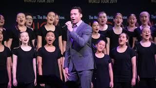 Hugh Jackman and Keala Settle and the Australian Girls Choir. Filmed for BroadwayWorld Sydney