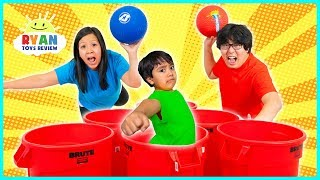 Trash Can BasketBall Dunk Challenge with Ryan ToysReview!