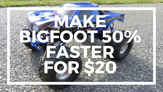Traxxas Bigfoot - How To Increase Speed 50% for $20 - Driftomaniacs
