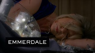 Emmerdale - Kim Is Pushed Down the Stairs by a Mysterious Assailant