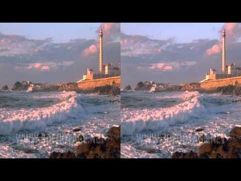 04 3D Video Sonnenuntergang am Strand von Porto / Sunset on the Porto Beach. Sony HDR-TD10E 3D Footage