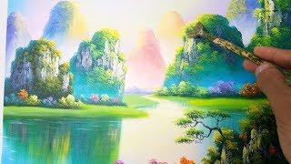 Dạy vẽ tranh phong cảnh sơn thủy, bài 3. (khóa học vẽ tranh online miễn phí). Landcape painting.