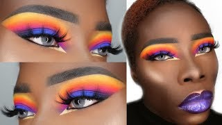HOW TO MAKE YOUR EYESHADOW MORE PIGMENTED! SUNSET MAKEUP TUTORIAL