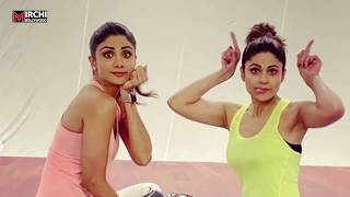 Shilpa Shetty-Shamita Shetty cute & fun gym session wi..
