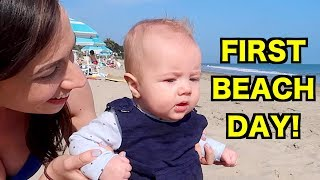 BABY'S FIRST TIME AT THE BEACH!