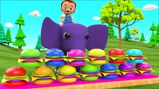 Colors for Children to Learning with Little Baby Fun Ride on Elephant Color Burgers 3D Kids Edu - YouTube