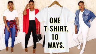 ONE T-SHIRT, 10 WAYS! -  HOW TO STYLE A BASIC WHITE T-SHIRT | OMABELLETV - YouTube