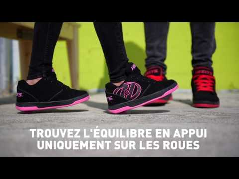 Video HEELYS Chaussure a roulette GR8R Hi 100348 Black Black Hologram Pink