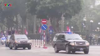 Cận cảnh đoàn xe của Chủ tịch Triều Tiên Kim Jong-un tiến vào trung tâm Thủ đô Hà Nội