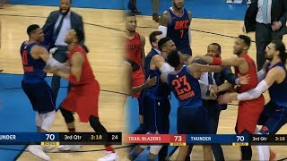 Russell Westbrook Fight!! C.J McCollum Game Winner! Thunder vs Blazers!