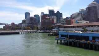 Ferry Ride View. Downtown San Francisco, Pier 14 Kate Steinle, Bay Bridge.