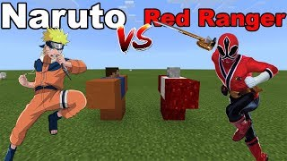 NARUTO vs RED RANGER !!! Minecraft PE