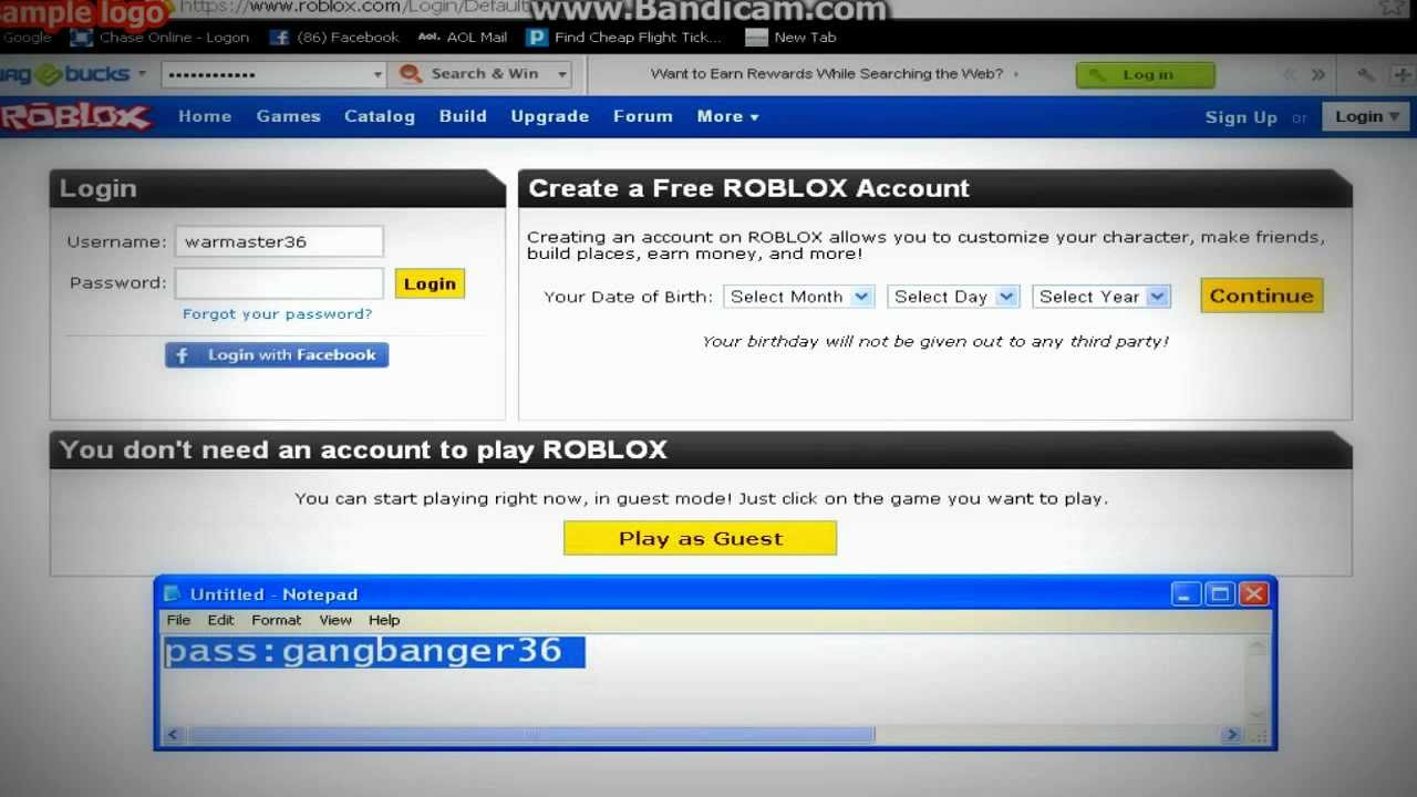 Roblox: free tbc account username and password 2013 - YouTube