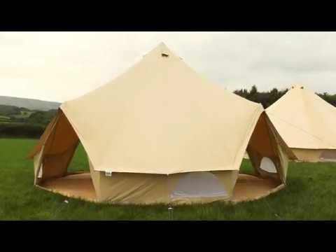 Boutique Camping Tents 6m Sandstein Rundzelt mit Reißverschluss-Bodenplane Poly-Baumwollzelt