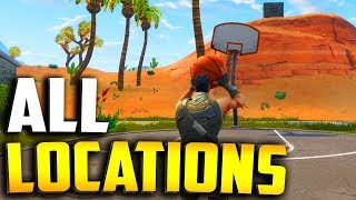 "ALL BASKETBALL COURT LOCATIONS in Fortnite ""score a basket on different hoops"" All Locations!"