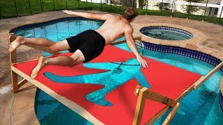 Diving through IMPOSSIBLE Shapes into a Pool!! *DONT BELLY FLOP*