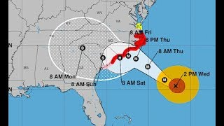 LIVE - Changes in Hurricane Florence Track and Strength - DEEP Storm Surge Potential
