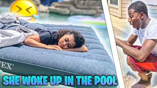 FIANCÉ WAKES UP IN SWIMMING POOL PRANK!! (BAD IDEA)