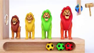 simba the lion king Learn Colors with Soccer Balls WOODEN HAMMER Learn Colors with Animal for kids