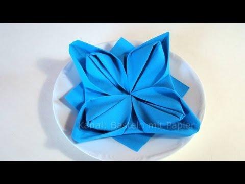 servietten falten anleitung lotusbl te youtube. Black Bedroom Furniture Sets. Home Design Ideas
