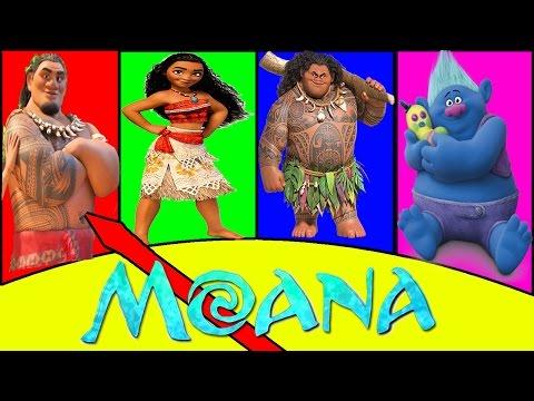 Moana Disney PJ Masks Piggy Bank Game - Trolls Movie, Paw Patrol, Peppa Pig, Learn Colors