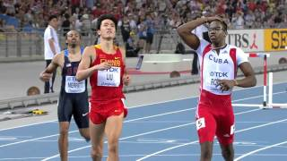 Dayron Robles is disqualified in the Men's 110 metres Hurdles Final