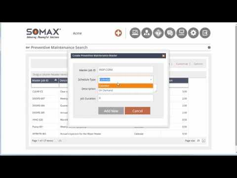 Add New Preventive Maintenance Master record - SOMAX CMMS Tutorials