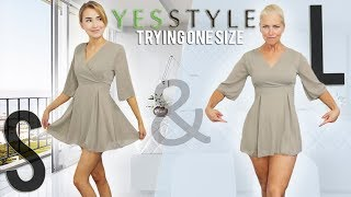 """TRYING """"ONE SIZE FITS ALL"""" CLOTHES ON TWO BODY SHAPES!!"""