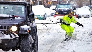 Trượt tuyết ngay trên đường phố New York