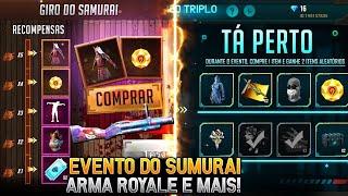 NOVO EVENTO GIRO DO SAMURAI, COMBO TRIPLO CHEGANDO DE VOLTA, LOJA DO DESEJO 5.0 E MAIS - FREE FIRE