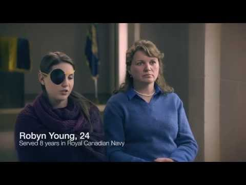 Video: Robyn Young is a 24-year-old soldier who is recovering from a brain tumour. After the Veterans Affairs office in Windsor, Ontario closed her mother had to drive her to London to get her the help she needed. Robyn has since moved to Victoria to be closer to a VAC office.