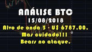 Análise Bitcoin - BTC - Alvo de onda 5 em U$ 6787.00, mas cuidado!!! Bears no ataque.