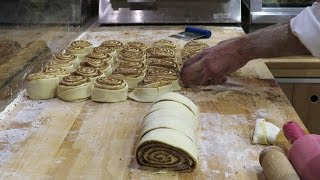 London Street Food. Making Sweet Cinnamon Roll and Strudel