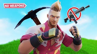 WINNING a game of Fortnite with NO GUNS ... (so easy)