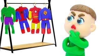 BABY NEW SUPERHERO COSTUME IDEAS 💖 Play Doh Stop Motion Cartoons