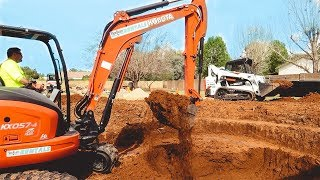 REAL Tractor Video (for kids) Digging a GIANT HOLE