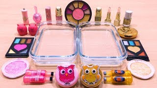 PINK vs GOLD ! Mixing Makeup Eyeshadow into Clear Slime! Special Series #60 Satisfying Slime Videos