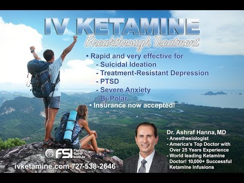 Dr. Ashraf Hanna talks about his successful treatment of Depression Patients with IV Ketamine. CNN recently broadcast a report highlighting Ketamine as a 'life saving shot' for those patients that have tried traditional depression medications and are in desparate need of a fast acting, effective treatment. Insurance accepted! For more information, please visit www.ivketamine.com or call 727-538-2646