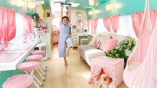 /bug incredible school bus converted into barbie style tiny house