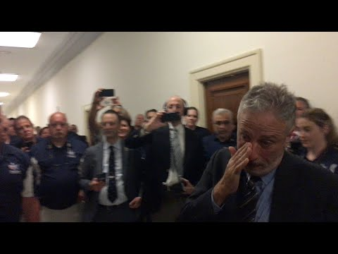 Jon Stewart Can't Hold Back Tears At 9-11 Responders' Gift