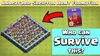 Skeleton ARMY Formation | 11 Max Skeleton Spell Vs All Troops | Clash of Clans